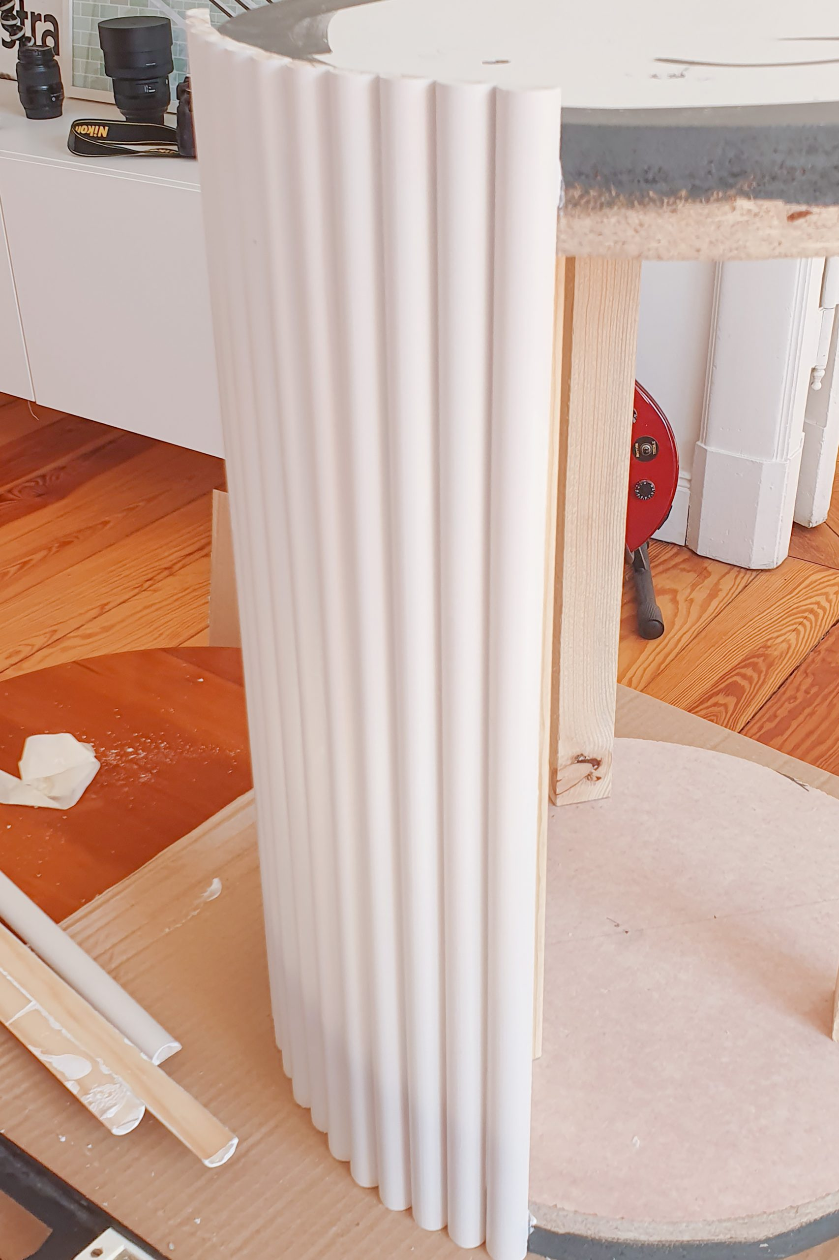 DIY Ribbed Side Table - Attaching Sides