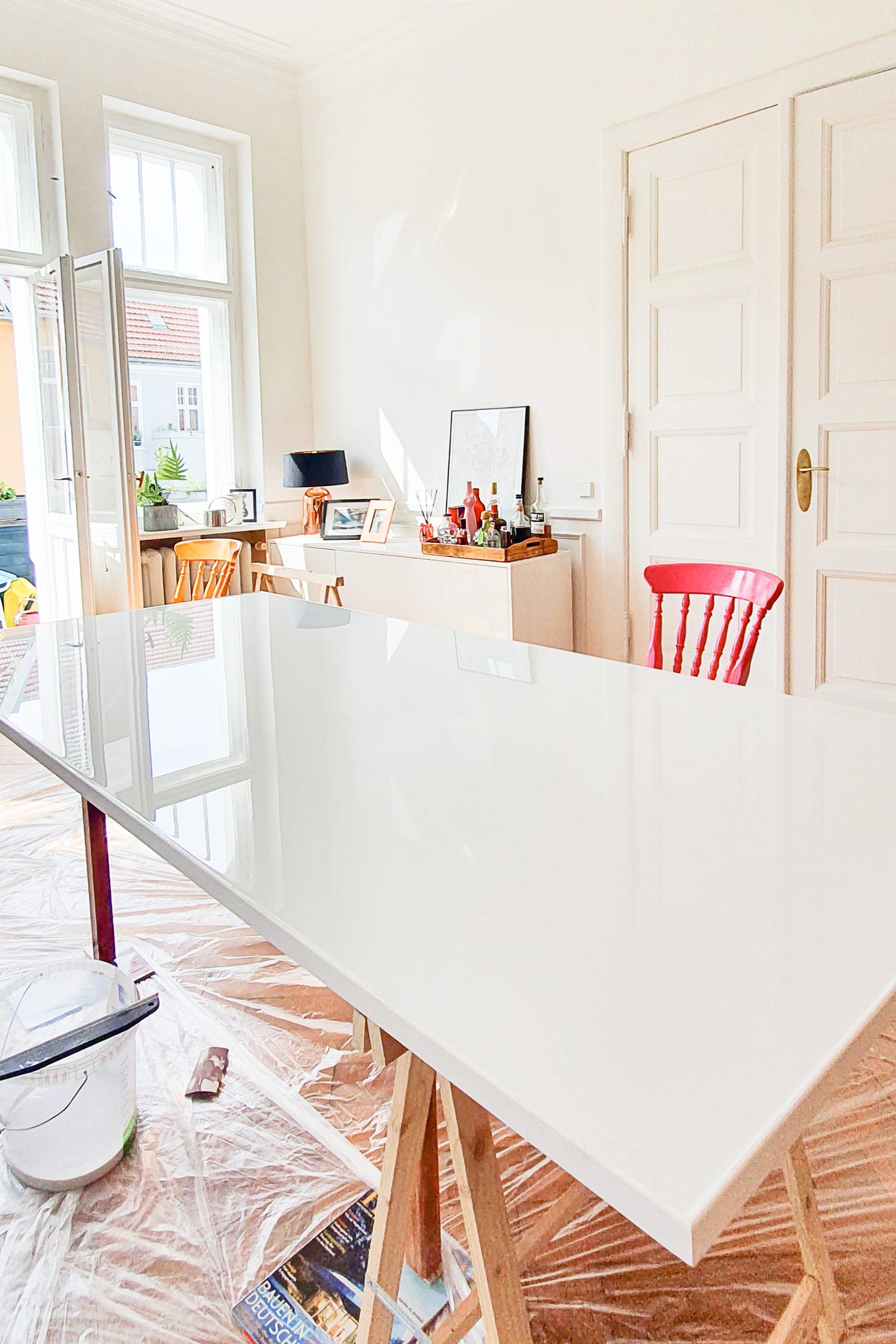 DIY White Resin Dining Table