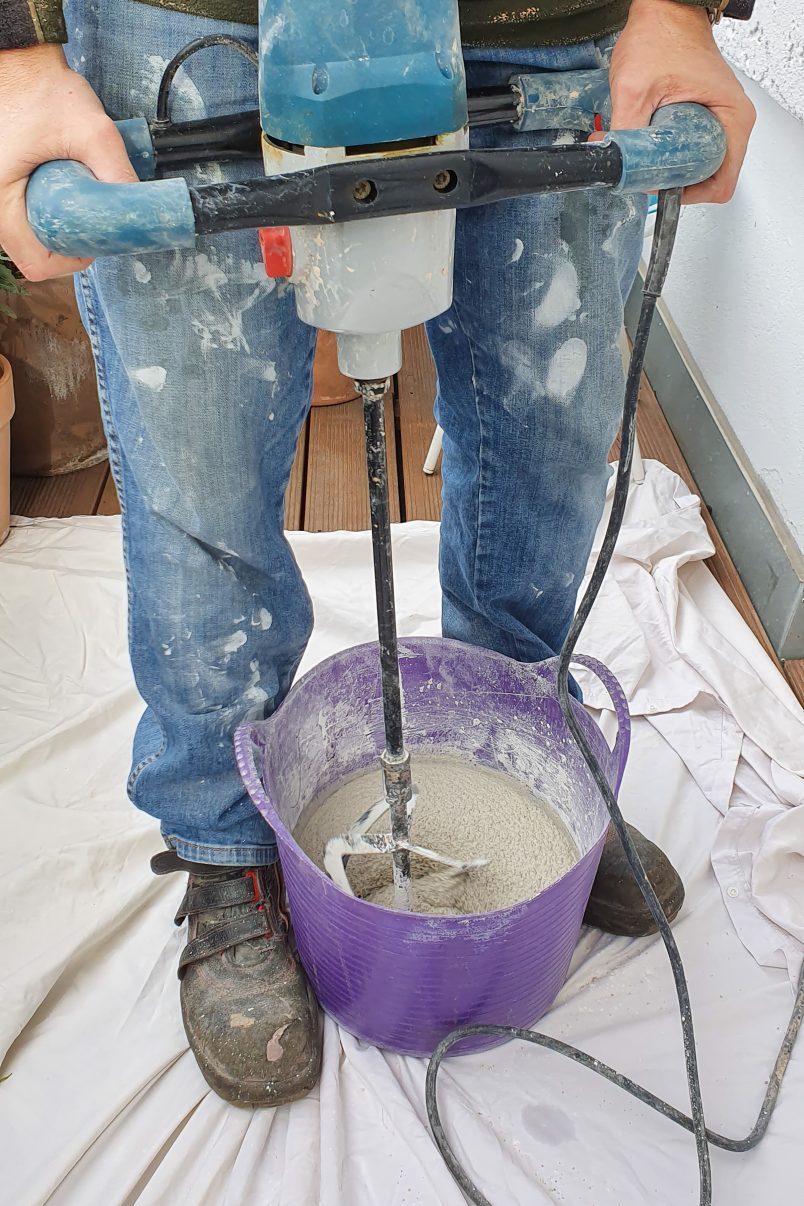 Mixing Concrete with Paddle Mixer for DIY Vittsjö Hack