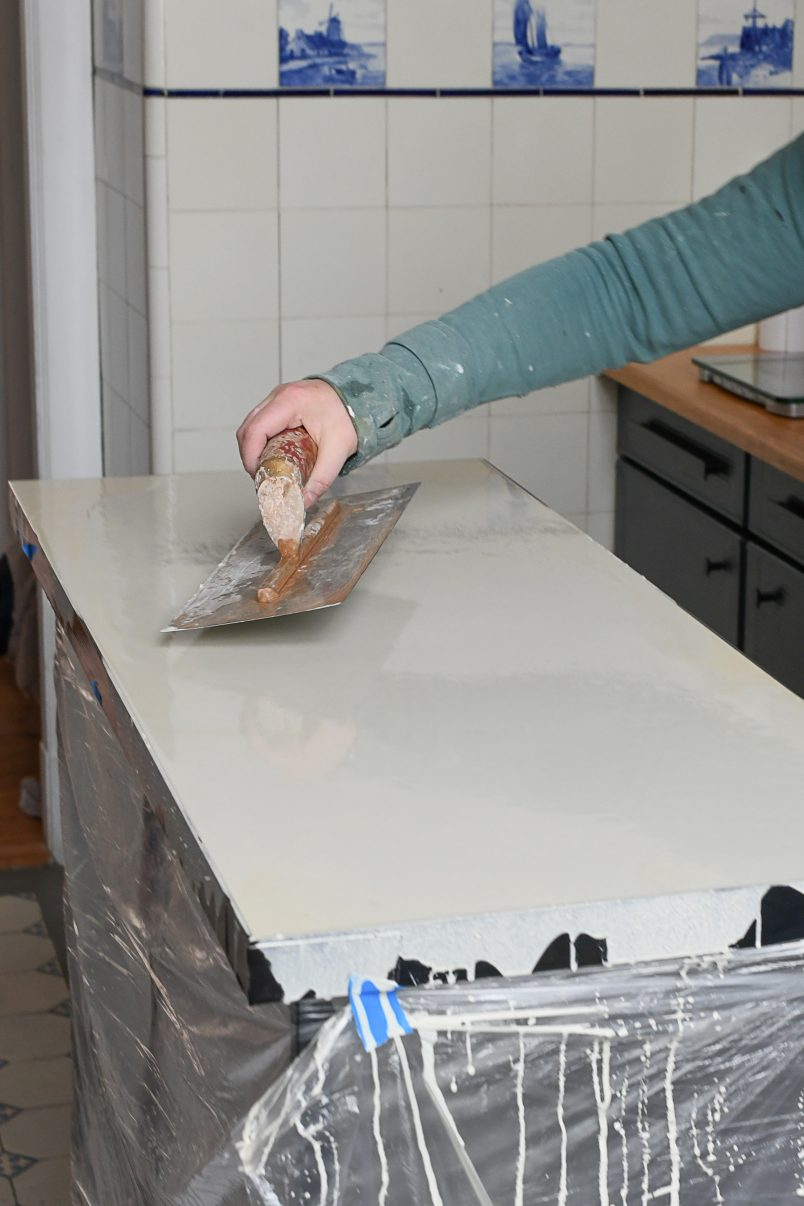 Smoothing Top Of Poured Concrete With Trowel