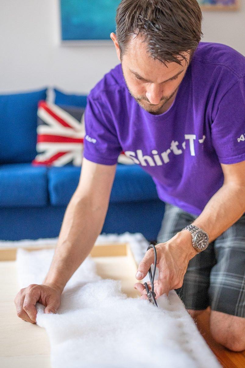 DIY Upholstered Ottoman - Cutting Batting