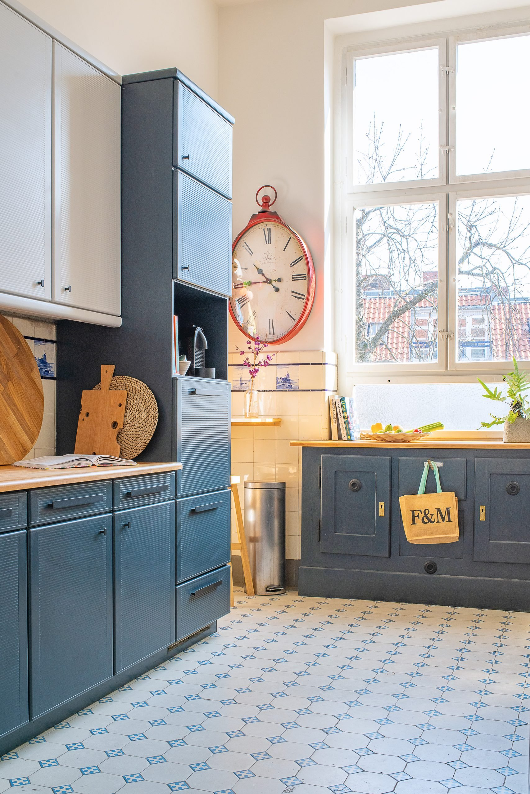 Dark Blue and Grey Painted Kitchen Cabinets