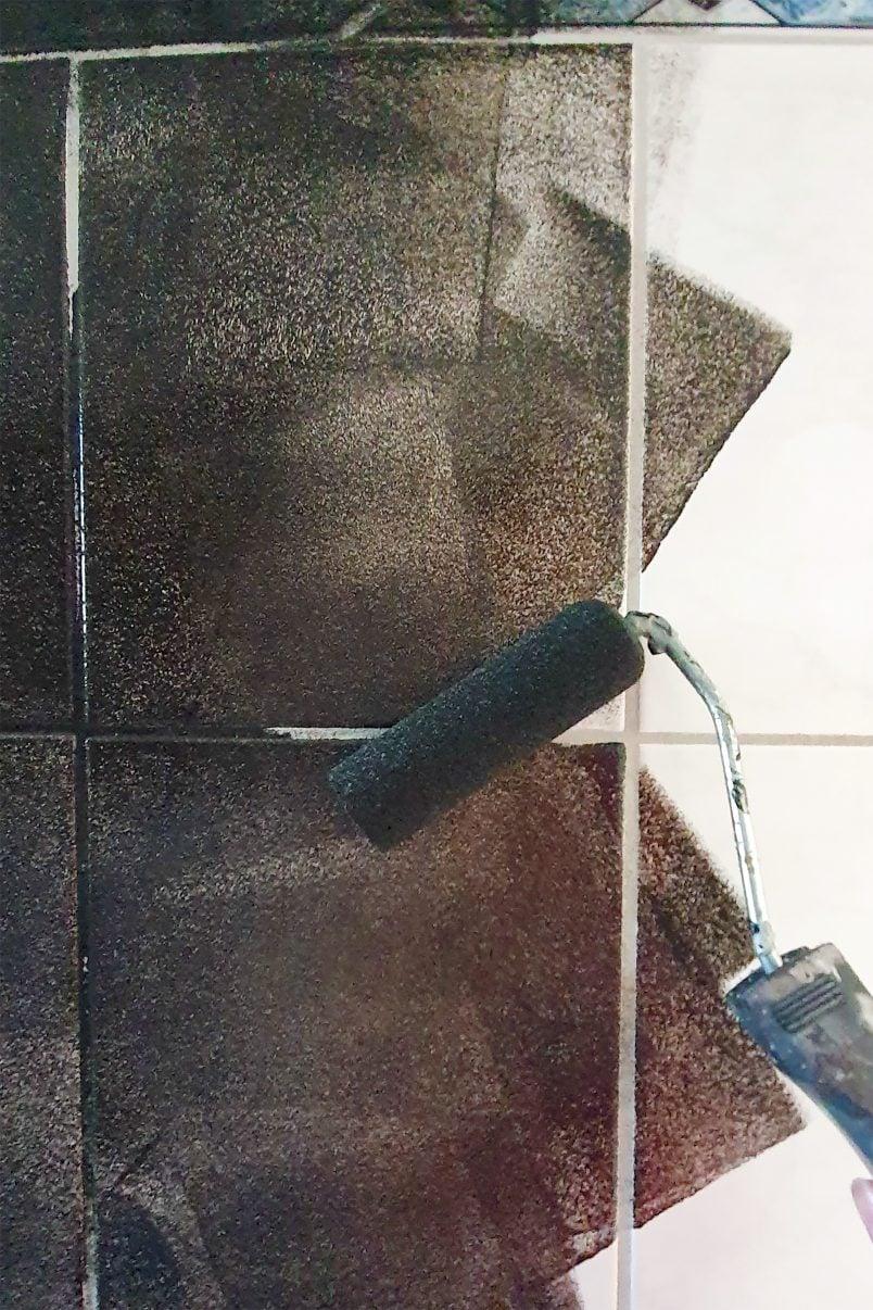 painting tiles black