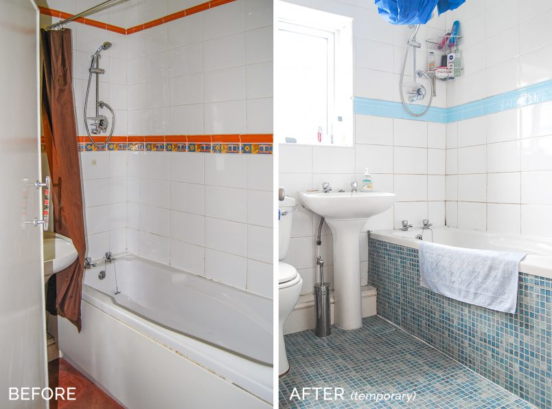 Ugly Bathroom Temporary Makeover - Before and After - Little House On The Corner