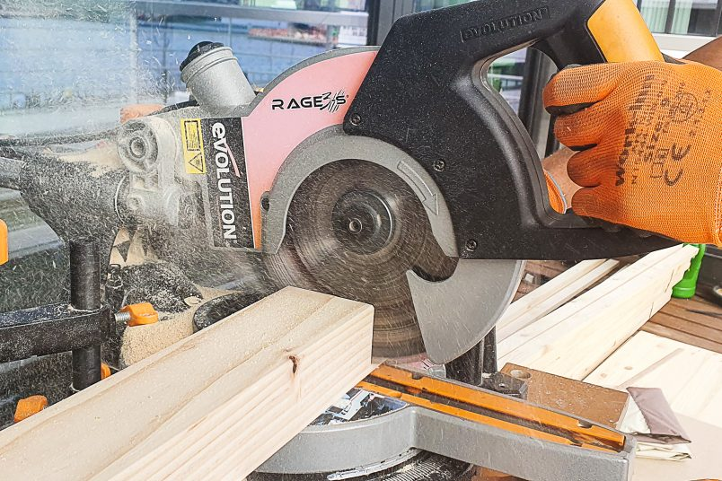 Cutting piece of timber for outdoor daybed with mitre saw