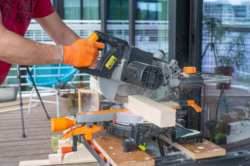 Cutting timber batten with mitre saw