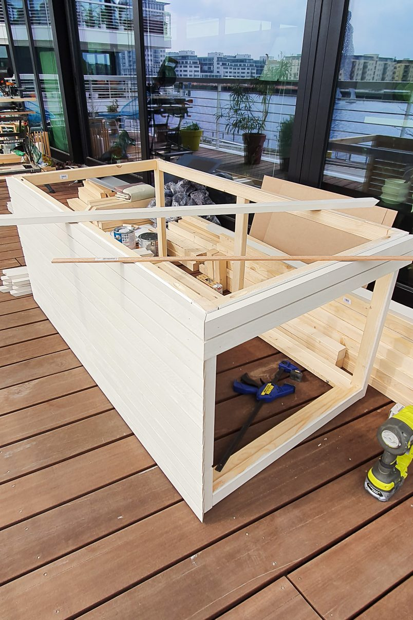 Attaching slats of outdoor storage box
