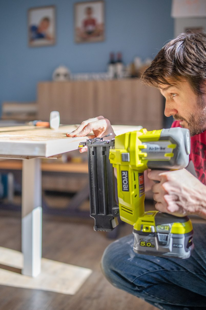 DIY Epoxy Resing Table - Attaching Edge with Nailer
