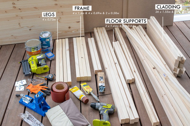 DIY Outdoor Storage Box - Supplies