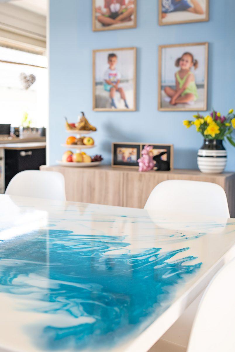 DIY White & Turquoise Resin Table