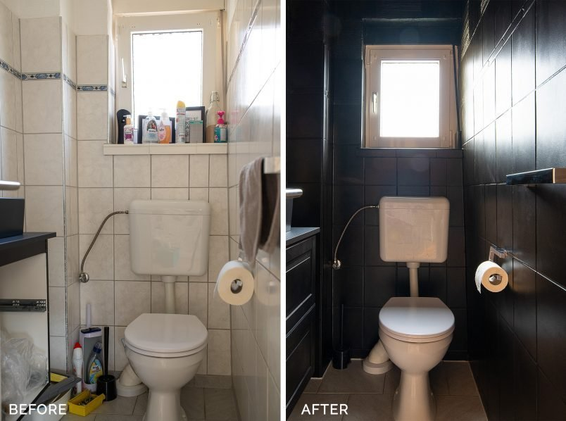 How To Paint Bathroom Tiles - Before and After